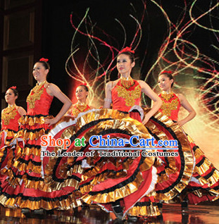Chinese Stage Ethnic Minority Dancing Dancewear Costumes Dancer Costumes Dance Costumes Chinese Dance Clothes Traditional Chinese Clothes Complete Set for Women Kids
