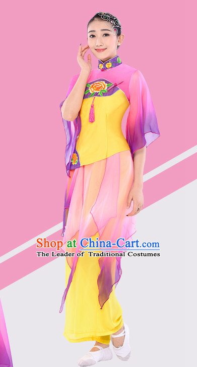 Chinese Traditional Stage Fan Dance Dancewear Costumes Dancer Costumes Dance Costumes Clothes and Headdress Complete Set for Women Children