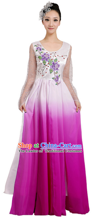 Chinese Traditional Stage Folk Fan Dance Dancewear Costumes Dancer Costumes Dance Costumes Clothes and Headdress Complete Set for Children