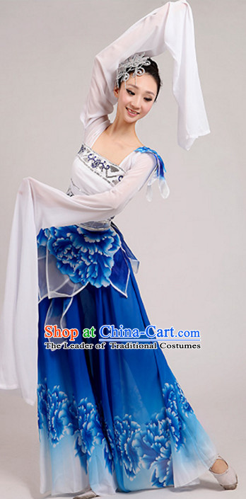 Chinese Traditional Stage Long Sleeves Dance Dancewear Costumes Dancer Costumes Dance Costumes Clothes and Headdress Complete Set for Children