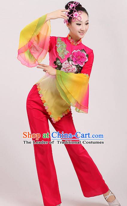 Chinese Traditional Stage Fan Dance Dancewear Costumes Dancer Costumes Dance Costumes Clothes and Headdress Complete Set for Children
