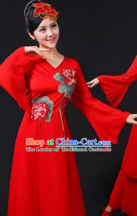 Chinese Traditional Stage Lotus Dance Dancewear Costumes Dancer Costumes Dance Costumes Clothes and Headdress Complete Set for Women