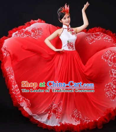 Chinese Traditional Stage Flower Dance Dancewear Costumes Dancer Costumes Dance Costumes Clothes and Headdress Complete Set for Women