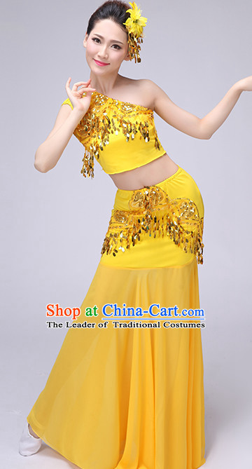 Yellow Chinese Traditional Stage Dai Minority Ethnic Dance Dancewear Costumes Dancer Costumes Dance Costumes Clothes and Headdress Complete Set for Women