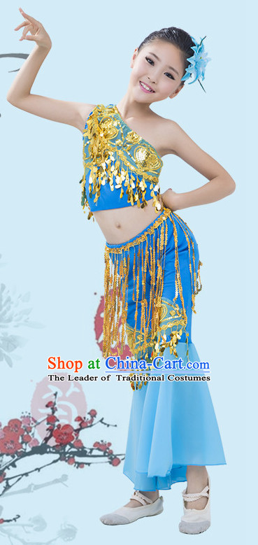 Light Blue Chinese Traditional Stage Dai Minority Ethnic Peacock Dance Dancewear Costumes Dancer Costumes Dance Costumes Clothes and Headdress Complete Set for Girls Kids