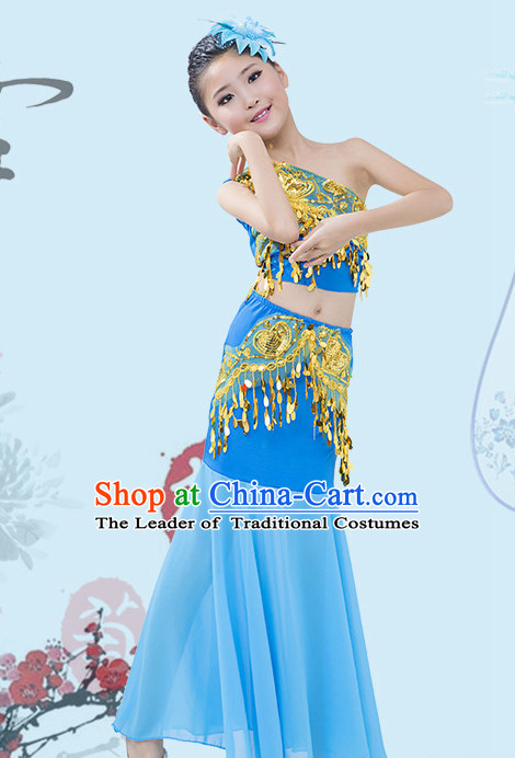 Blue Chinese Traditional Stage Dai Minority Ethnic Peacock Dance Dancewear Costumes Dancer Costumes Dance Costumes Clothes and Headdress Complete Set for Girls Kids