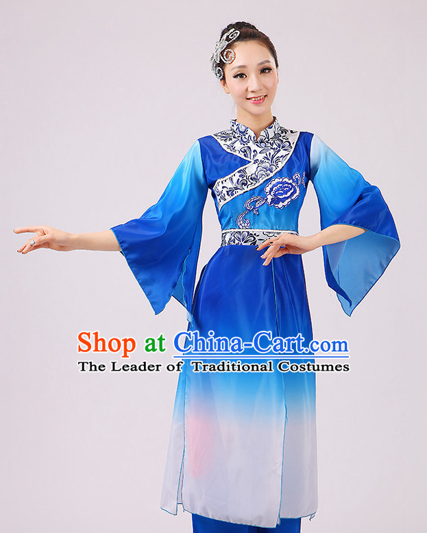 Chinese Traditional Stage Minority Ethnic Dance Dancewear Costumes Dancer Costumes Dance Costumes Clothes and Headdress Complete Set for Girls Ladies