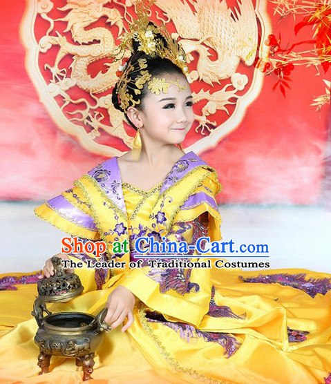 Chinese Ancient Empress Princess Clothes and Headwear Complete Set for Girls Ladies
