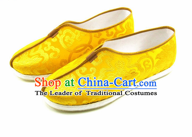 Top Yellow Dragon Chinese Traditional Tai Chi Shoes Kung Fu Shoes Martial Arts Fabric Shoes for Men or Women