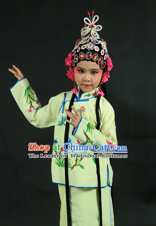 Chinese Traditional Opera Costumes and Headdress Complete Set for Kids