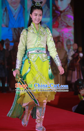 Chinese Ancient Princess Fighting Garment Costumes Complete Set for Women Girls