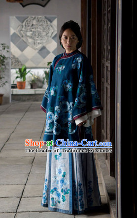 Chinese Manchu Qipao Cheongsam Lady Garment Complete Set for Women Girls