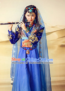 Chinese Traditional Ethnic Minority Mysterious Lady Garment Complete Set for Women Girls
