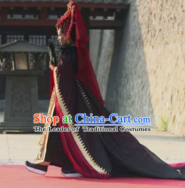 Chinese Traditional Ancient Empress Costumes Garment and Hair Jewelry Complete Set for Women Girls