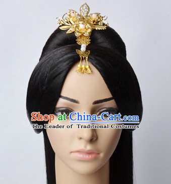 Chinese Classical Princess Queen Empress Hair Jewelry Headwear Headdress and Long Wigs