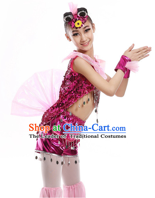 Chinese Traditional Fish Carp Dance Costumes and Headwear Complete Set for Kids