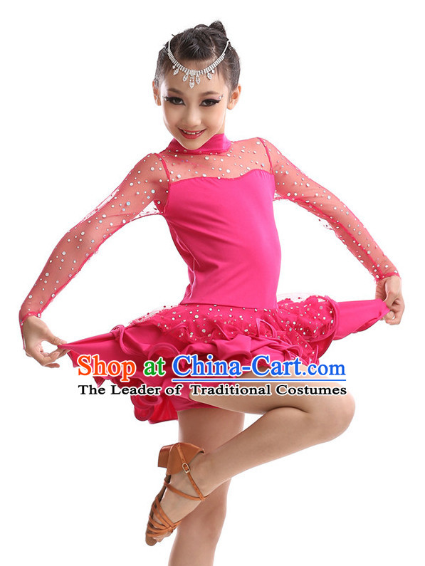 Chinese Modern Dance Costumes Complete Set for Kids Girls