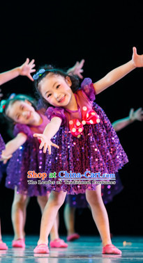 Chinese Traditional Folk Fan Dance Costumes Complete Set for Kids Girls