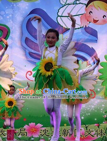 Chinese Primary School Students Sunflower Dance Outfits Costumes Complete Set for Kids Girls