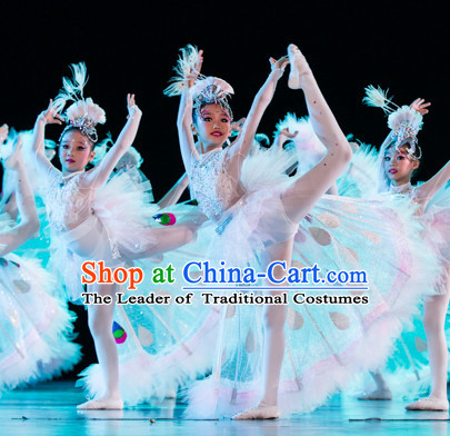 Chinese Primary School Students Peacock Dance Outfits Costumes Complete Set for Kids Girls