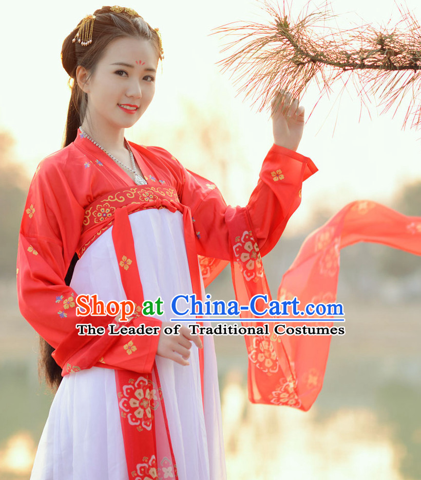 Top Chinese Tang Dynasty Beauty Princess Hanfu Clothing Chinese Hanfu Costume Hanfu Dress Ancient Chinese Costumes Complete Set for Women Girls Children