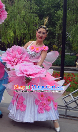 Chinese Folk Flower Dance Costumes Complete Set for Women