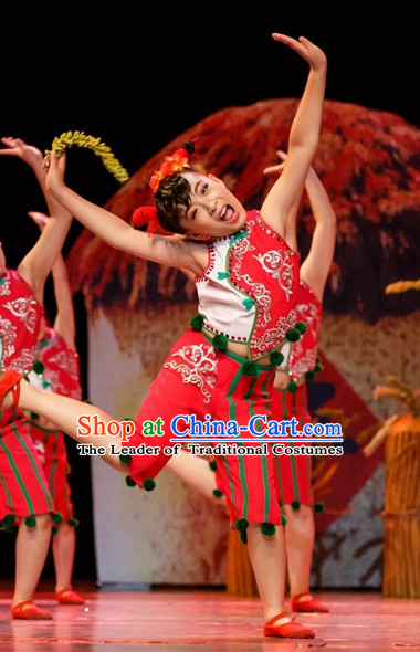 Chinese Folk Han Mandarin Dance Costumes Complete Set for Kids
