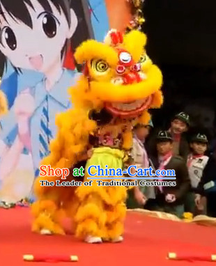Gold Color Top 100% Natural Long Wool Middle School Lion Dance Costumes Complete Set for Kids Children Boys Girls