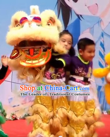 Light Yellow Color Top 100% Natural Long Wool Middle School Lion Dance Costumes Complete Set for Kids Children Boys Girls