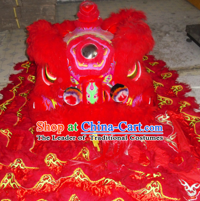 Red Top Competition and Parade Fut San Lion Dancing Costume Complete Set