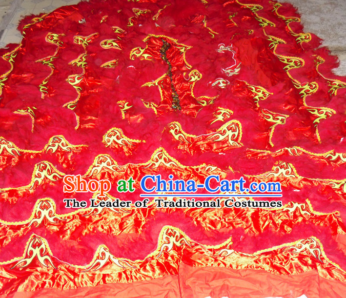 Red Top Asian Chinese Lion Dance Pants Claws Tail Body Costumes Set