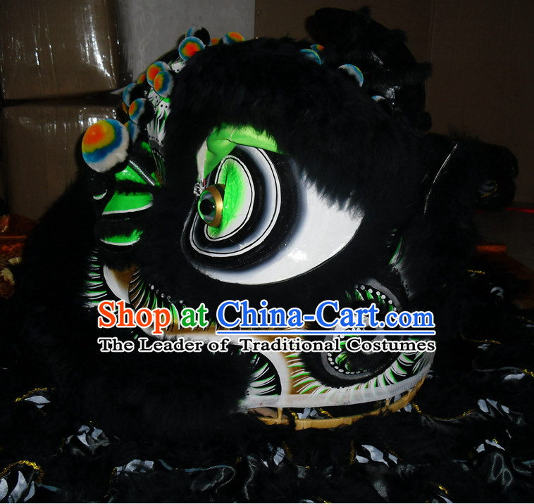 Black Top Competition and Parade Fut San Lion Dancing Costume Complete Set