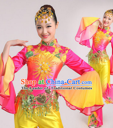 Peachblow Chinese Traditional Fan Dance Costumes Dancing Outfits for Women or Girls