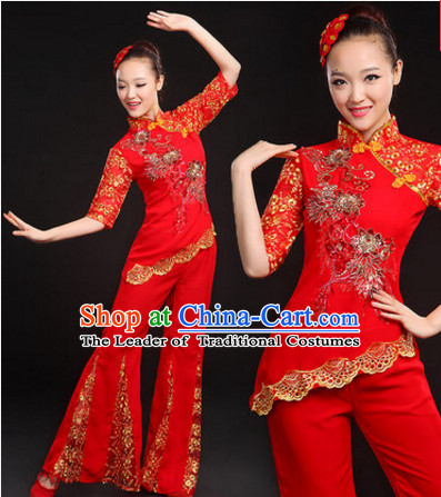 Red Chinese Traditional Han Minority Handkerchief Dance Costumes Dancing Outfits and Hat Complete Set for Women or Girls