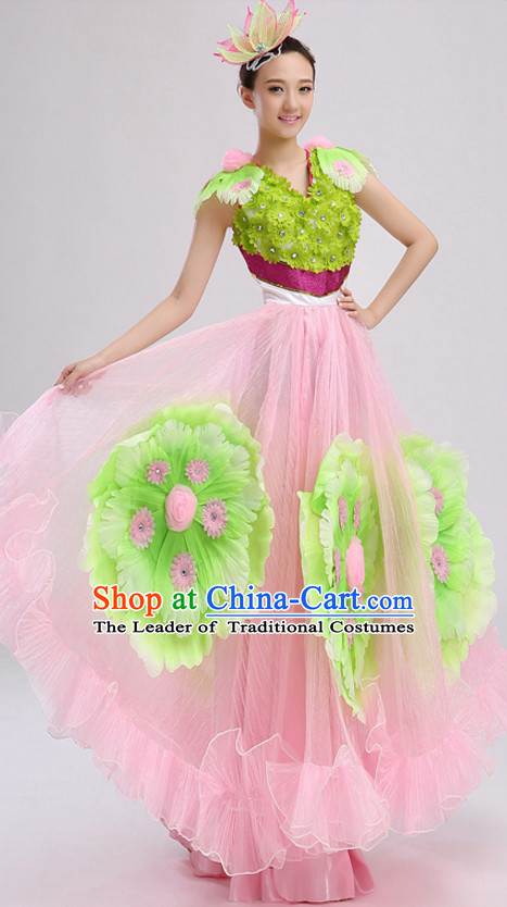 Pink Chinese Folk Flower Dancing Costumes and Headdress Complete Set for Women