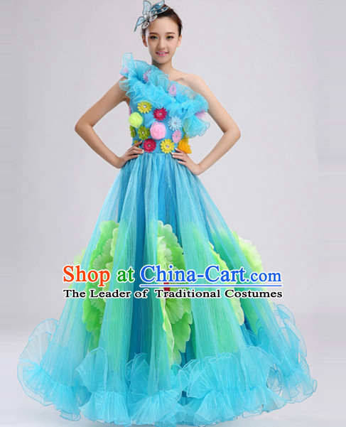 Blue Chinese Folk Peony Flower Dance Costumes and Headdress Complete Set for Women