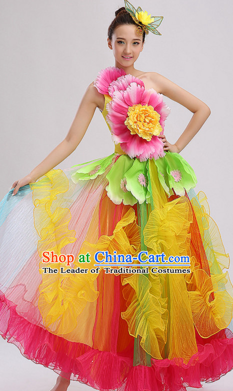 Yellow Chinese Folk Peony Flower Dance Costumes and Headdress Complete Set for Women