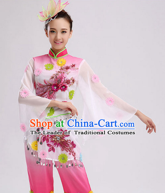 Chinese Folk dancing Costumes Traditional Chinese Fan Dancing Costume Ribbon dancingwear and Headwear