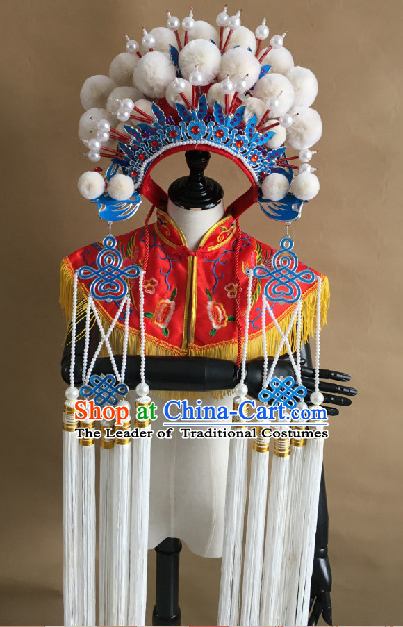 White Chinese Traditional Phoenix Coronet Opera Hat