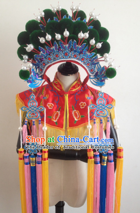 Green Chinese Traditional Phoenix Coronet Opera Hat