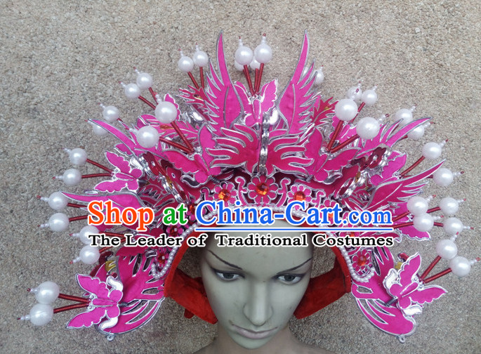 Light Purple Chinese Traditional Phoenix Coronet Opera Hat