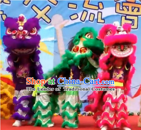 Top 100% Natural Long Wool School Lion Dance Costumes Complete Set for Teenagers Kids Children Boys Girls