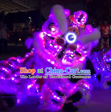Luminous LED Lights Supreme 100% Long Natural Wool Chinese Southern Lion Dance Equipments Complete Set