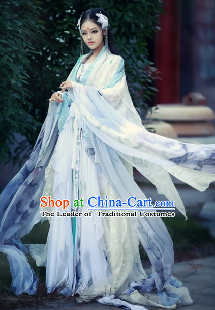 Ancient Chinese Beauty Costumes and Hair Jewelry Complete Set for Women