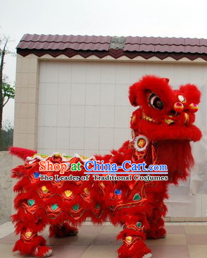 Red 2008 Beijing Olympic Games Opening Ceremony 100_ Natural Long Wool Lion Dance Equipments Complete Set