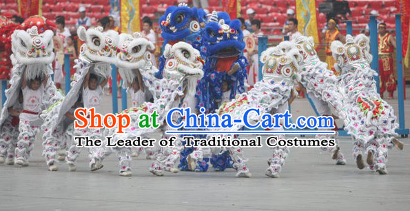 White 2008 Beijing Olympic Games Opening Ceremony 100% Natural Long Wool Lion Dance Equipments Complete Set