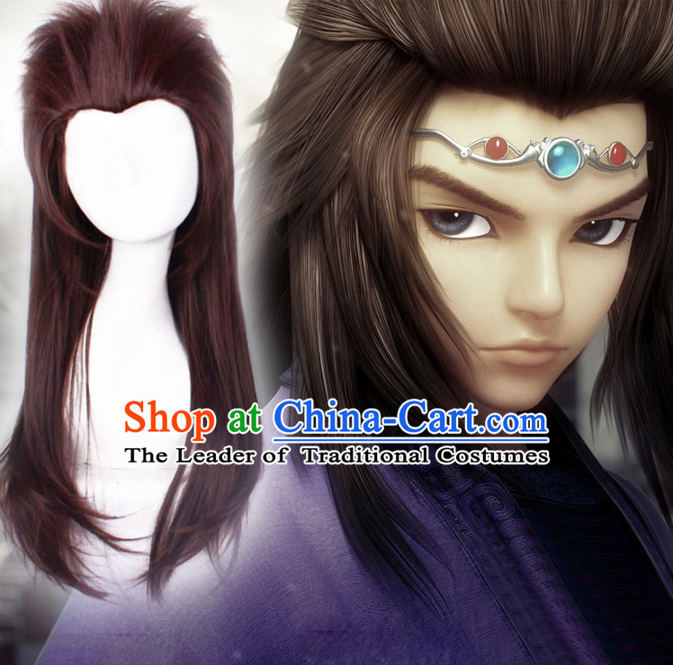 Chinese Ancient Male Style Brown Long Wigs