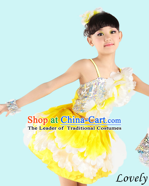 Chinese Peony Flower Dance Costumes for Girls
