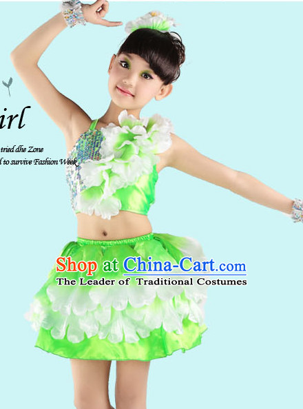 Green Chinese Peony Flower Dancing Costumes for Girls