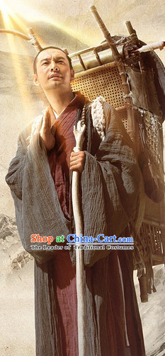 Ancient Chinese Xuan Zang Monk Costumes Complete Set for Men